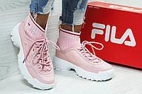 Кроссовки женские Fila с носком розовые