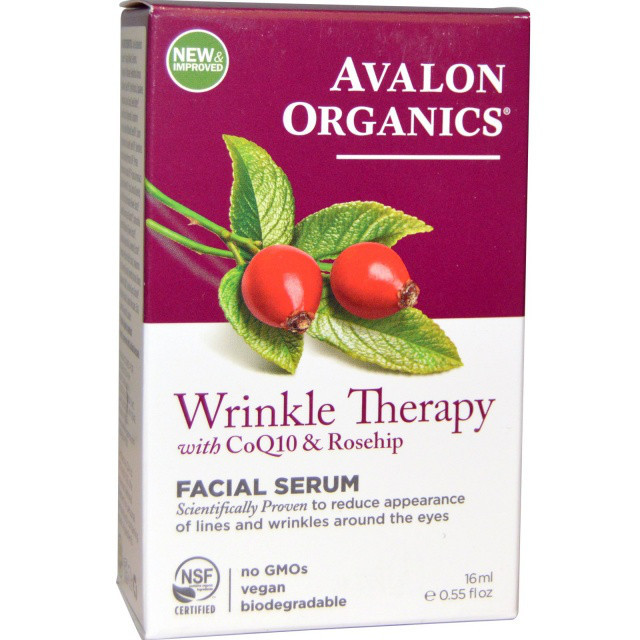 Сыворотка для кожи лица против морщин с коэнзимом Q10 и маслом шиповника *Avalon Organics (США)*