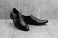 Мужские туфли кожаные весна/осень черные Belvas 189, фото 1
