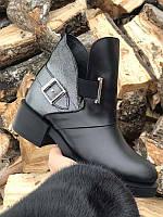 Кожаные ботинки женские зимние осенние черные Uk0556