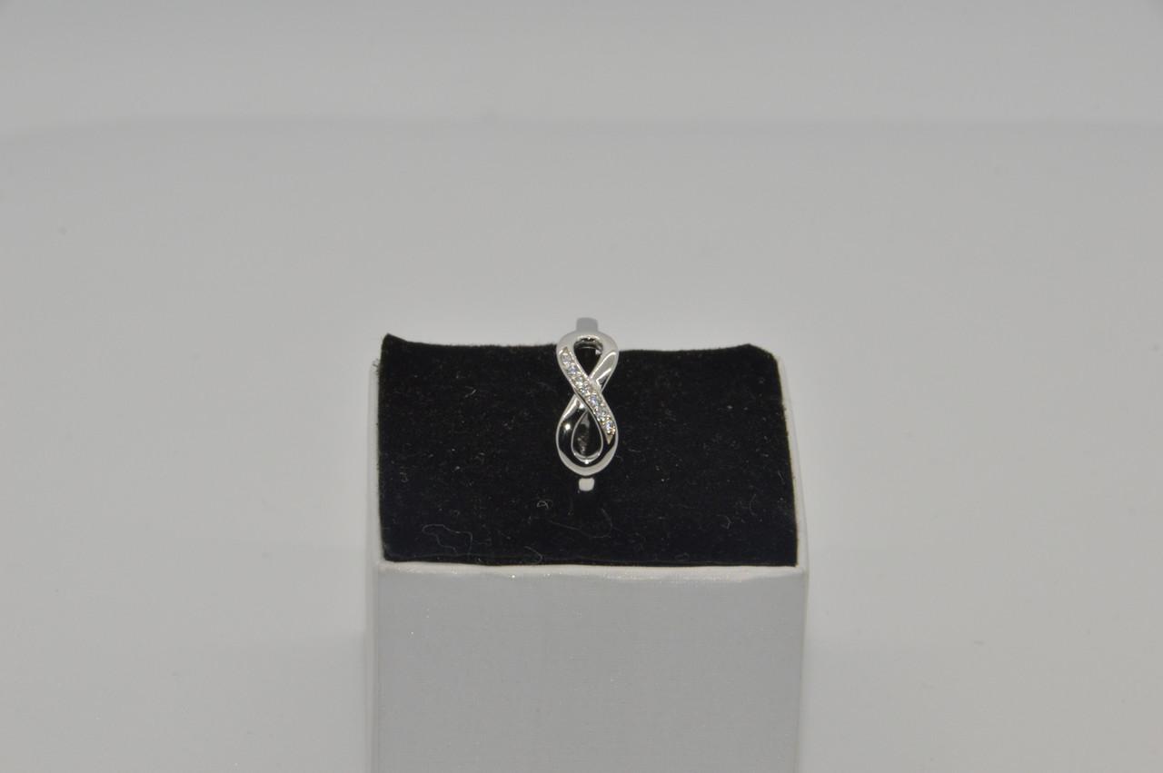 Серебряное кольцо, Бесконечность, с камнями куб. цирконий, размер 17 и 16