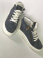 Ботинки-кеды женские демисезонные/зимние замша серые Uk0557