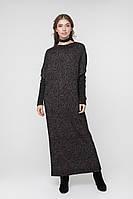 Черное вязаное платье в пол оверсайз (One Size, черный)