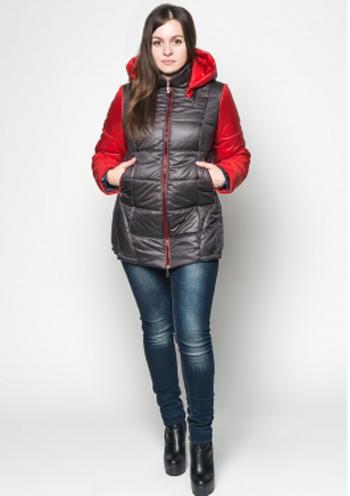 02599efd8f73 Купить Женская демисезонная куртка на синтепоне (черный с красным ...