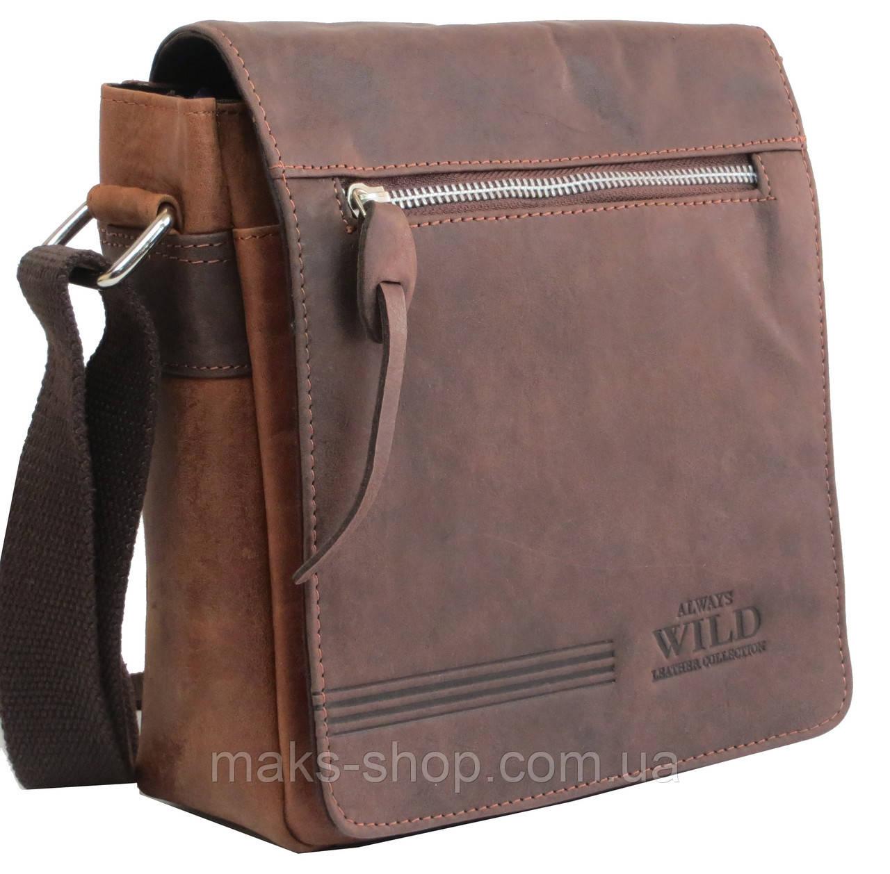 fda9950d3156 Городская кожаная сумка на плечо Always Wild BAG2HB коричневая - Maks Shop-  надежный и перспективный