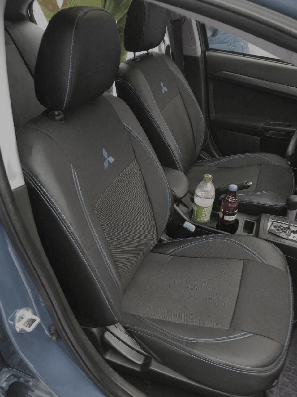 Чехлы на сиденья ДЭУ Сенс (Daewoo Sens) (модельные, экокожа+автоткань, отдельный подголовник)