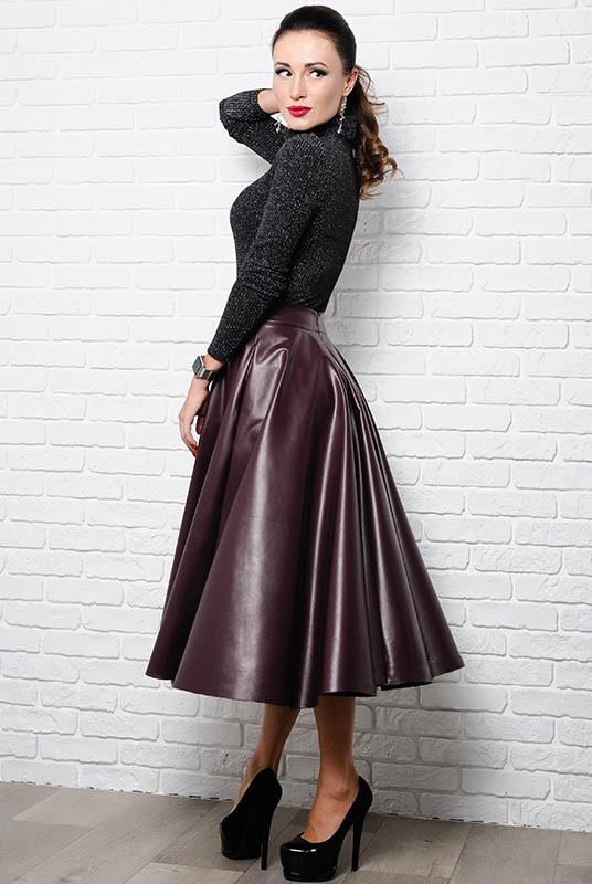 Модная юбка из экокожи Мелисса, бордовая