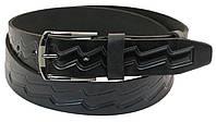 Мужской кожаный ремень под джинсы Skipper 1033-38 черный ДхШ: 135х3,8 см.