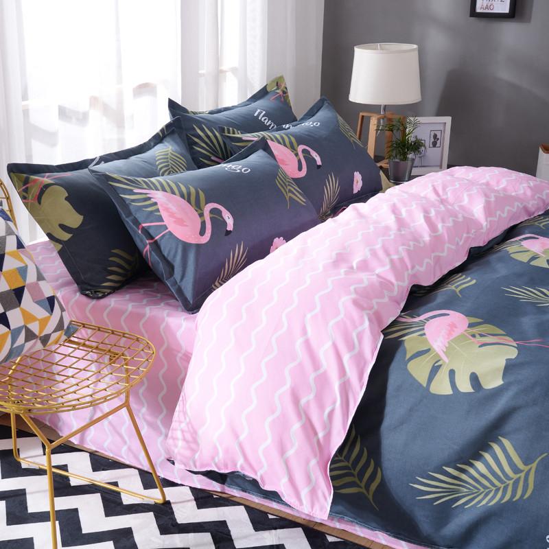Синий комплект постельного белья с Фламинго (полуторный)