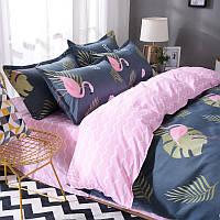 Синий комплект постельного белья с Фламинго (полуторный)  , фото 1