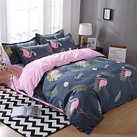 Синий комплект постельного белья с Фламинго (двуспальный-евро) , фото 1