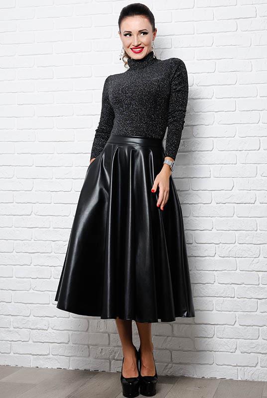 Черная кожаная юбка Мелисса