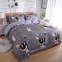 Серый комплект постельного белья Кошки и Собаки (полуторный)  , фото 1