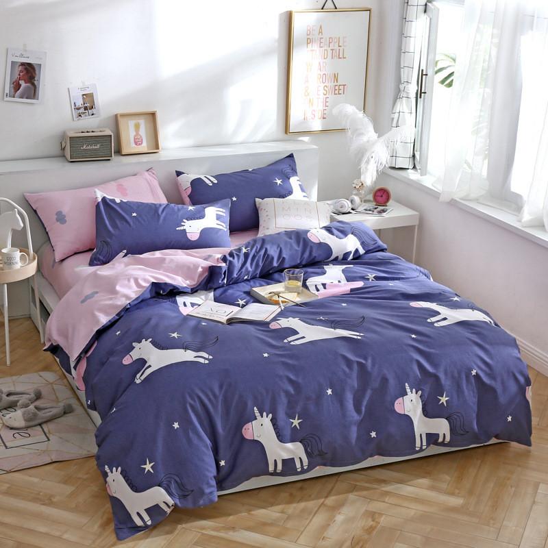 Хлопковое постельное белье с Единорогами (двуспальный-евро)