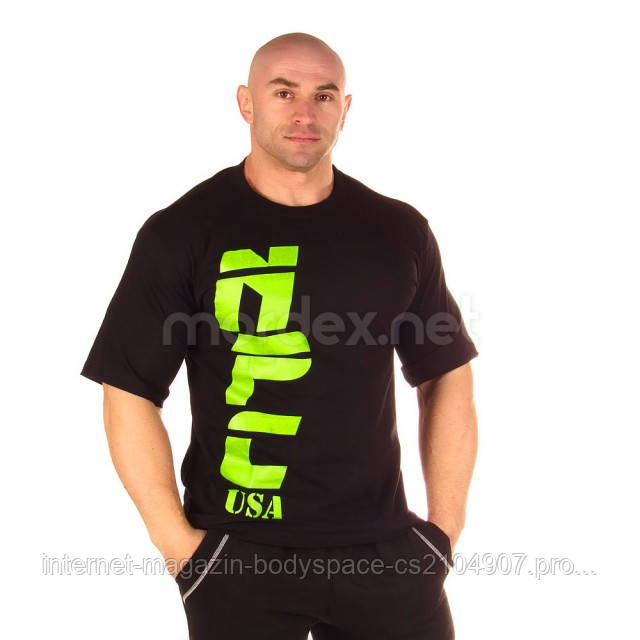 NPC, Футболка для бодибилдинга NPC USA Cotton T-Shirt, черная