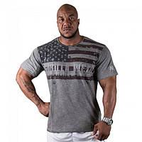 Gorilla Wear, Футболка для бодибилдинга USA Flag Tee Gray, фото 1