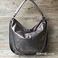 Серебряная кожаная сумка Polina & Eiterou, фото 1