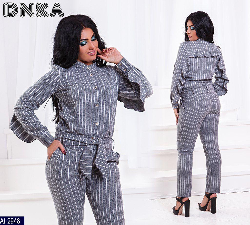 dfe1b229d2d5 Женский серый классный стильный в полоску брючный костюм 2-ка,брюки с  поясом (лен стрейч) цвет-серый (батал), цена 590 грн., купить в Одессе —  Prom.ua ...