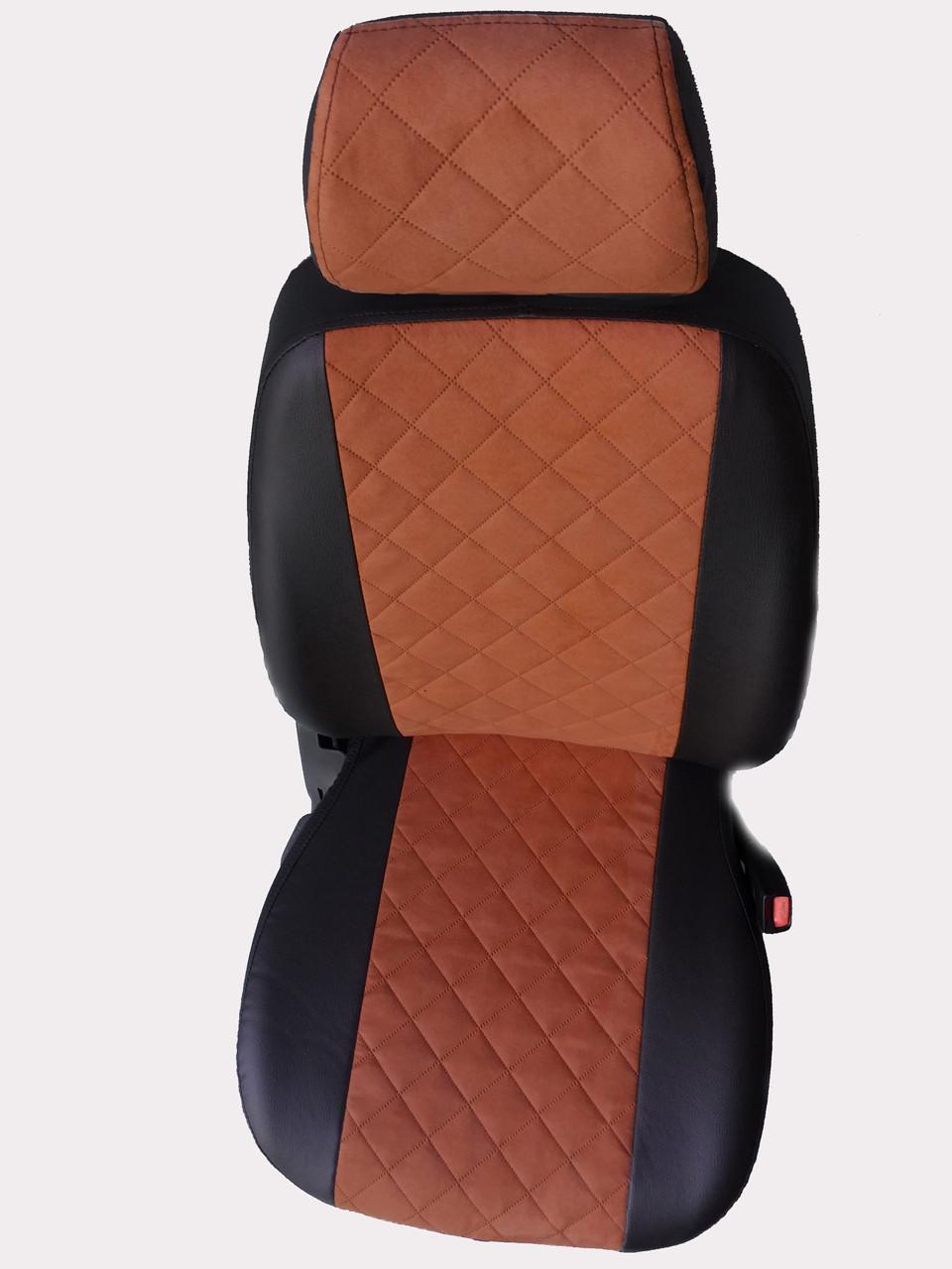 Чохли на сидіння ДЕУ Джентра (Daewoo Gentra) (універсальні, екошкіра+Алькантара, з окремим підголовником)