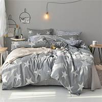 Серый хлопковый комплект постельного белья Большие Звезды (полуторный)