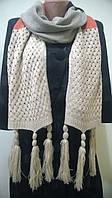 Яркий многоцветный ажурный шарф  с кистями