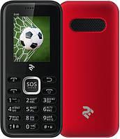 Телефон кнопочный мобильный для пожилых людей на 2 сим карты с хорошей громкостью 2E S180 красный