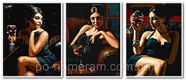 Картина по номерам (VPT032) Триптих Девушка с бокалом вина 40 х 50 см