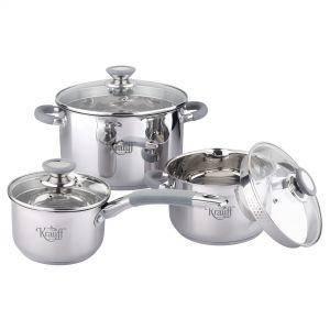 Набор посуды 2л.4л. 6л. из нержавеющей стали 6 предметов Krauff 26-238-021, фото 2