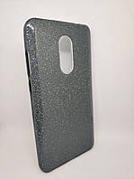 Чехол с блестками для Xiaomi Redmi Note 4x силикон серый