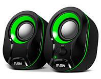 Колонки для компьютера 2.0 Sven 290 Black-Green, акустика, акустическая система