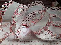 """Стрічка капрон """"Трояндочка"""" 4.0 см , колір рожевий"""