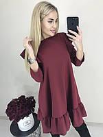 Стильное рассклешенное свободное платье миди с воланами рюшами бордовое 42-44-46 , фото 1