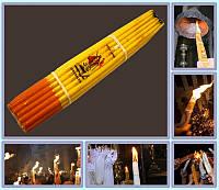 Свечи Иерусалимские обожженные Желтые  (Пучок 33шт парафин)
