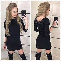 Стильное трикотажное платье со шнуровкой лентами на спине чёрное 42-44 44-46, фото 1