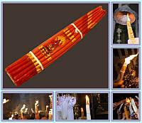 Свечи Иерусалимские обожженные  Красные (Пучок 33шт парафин)