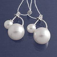 Серебряные серьги с жемчугом Сара