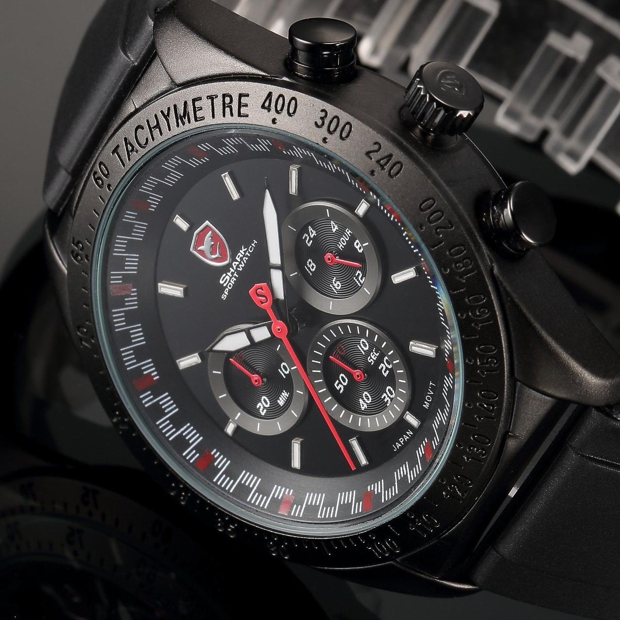 Мужские наручные часы Shark SH271 Men's Red Dashboard Dial Chronograph Analog Quartz Sport Watch