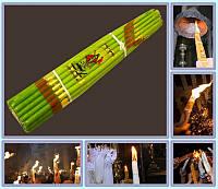 Свеча Иерусалимская обожженная Зелёные (Пучок 33шт)