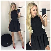 Красивое выходное нарядное платье с пышной юбкой из тисненого жаккарда чёрное 42-44 44-46, фото 1
