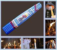 Свечи Иерусалимские обожженные Синие (Пучок 33шт)