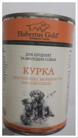 Корм консерва Hubertus Gold Хубертус Голд для цуценят Курка картопля і морква 400 г