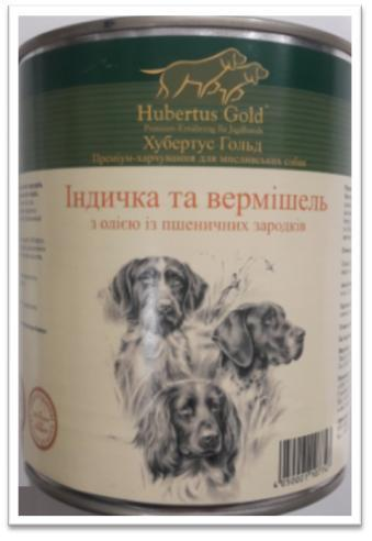 Корм консерва Hubertus Gold Хубертус Голд для собак Індичка вермішель 800 г
