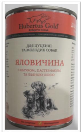 Корм консерва Hubertus Gold Хубертус Голд для цуценят Яловичина, яблуко і пастернак 400 г