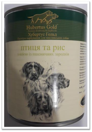 Корм консерва Hubertus Gold Хубертус Голд для собак Птиця рис 800 г