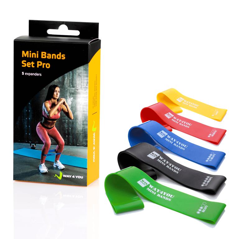 Набор эспандеров Mini Bands. 5шт. (желтый,красный,зеленый,синий,черный)