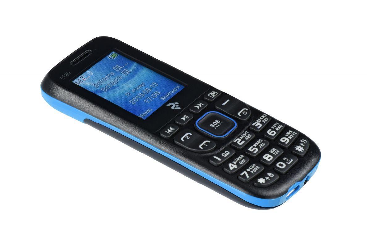 Телефон кнопочный с кнопкой сос на 2 сим карты 2E E180 синий