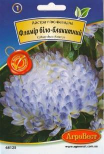Цветы Астра пионовидная Фламир бело-голубой 0,3 г (АгроВест), фото 2