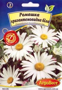 Цветы Ромашка хризантемовидная белая 0,4 г (АгроВест), фото 2