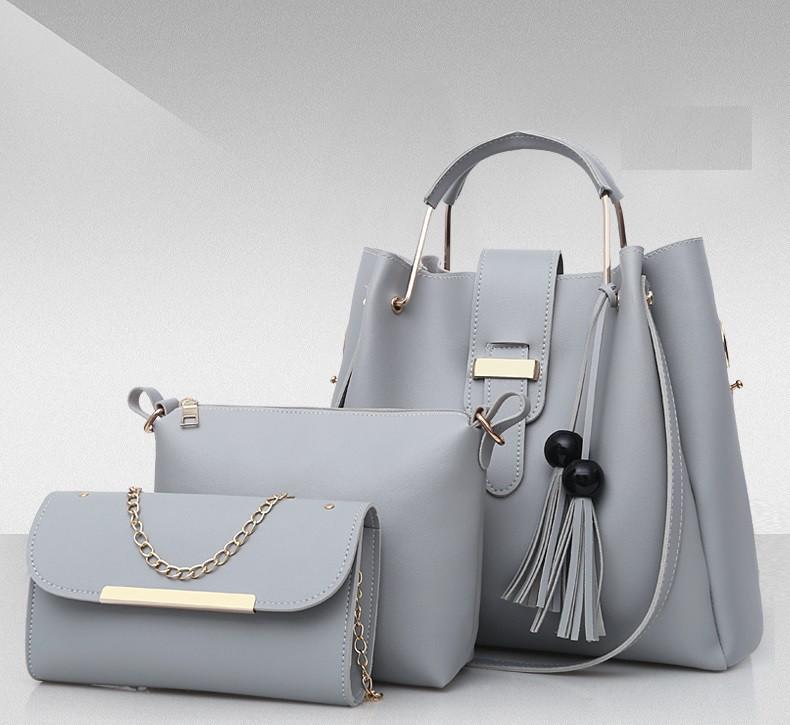 Набор женских сумок 3 в 1 (шоппер, косметичка и клатч) Viva gray