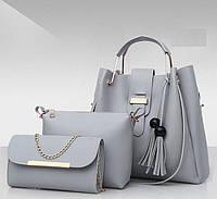 Набор женских сумок 3 в 1 (шоппер, косметичка и клатч) Viva gray, фото 1